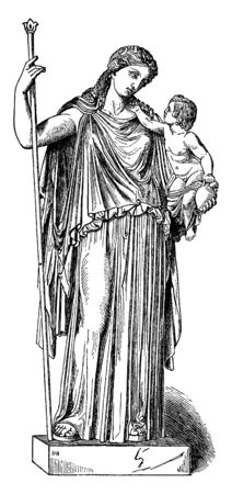 This is a statue of Eirene. She has holding a child in her hand & in her other hand she has holding a large stick, vintage line drawing or engraving illustration.