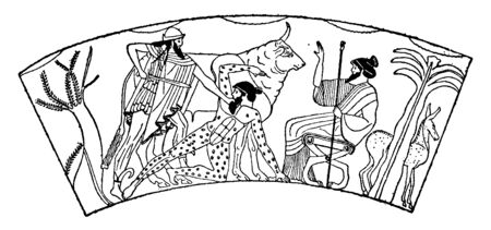 The picture depicts the Hermes killing the Argus. Argus is a many-eyed giant in Greek mythology, vintage line drawing or engraving illustration.