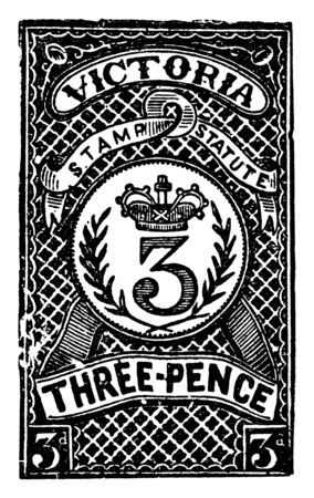 This image represents Victoria Three Pence Revenue Stamp from 1884 to1886, vintage line drawing or engraving illustration.