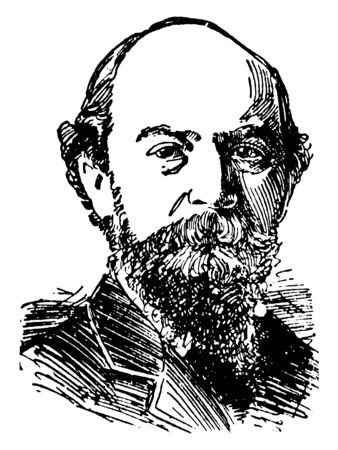 Algernon C. Swinburne, 1837-1909, he was an English poet, playwright, novelist, and critic, vintage line drawing or engraving illustration