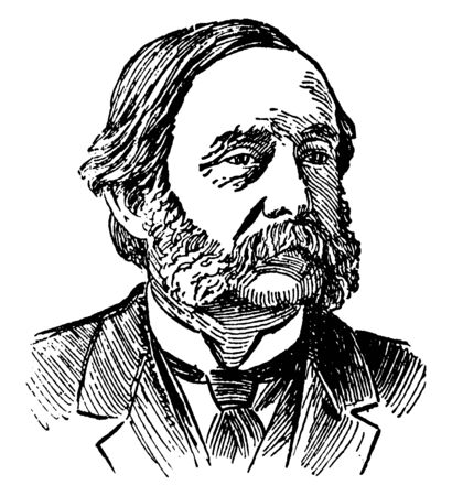 Thomas W. Higginson, 1823-1911, he was an American Unitarian minister, author, abolitionist, soldier, colonel of the first South Carolina Volunteers, vintage line drawing or engraving illustration