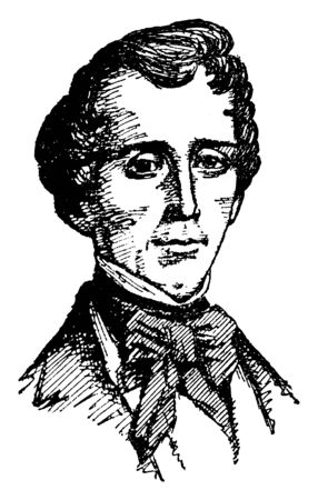 J. Pinkney Henderson, 1808-1858, he was a lawyer, politician, soldier, and the first governor of the state of Texas, vintage line drawing or engraving illustration
