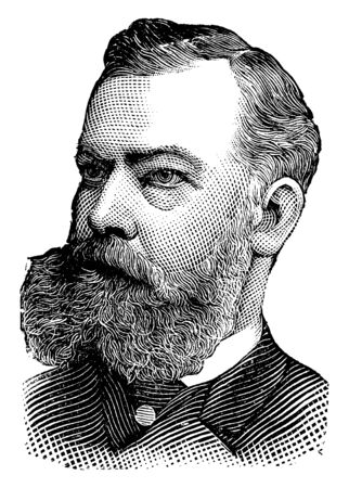 Charles Lyman, he was the chief examiner of the service under the Pendleton bill, vintage line drawing or engraving illustration