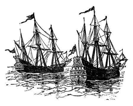 Spanish Treasure Ships which Francis Drake captured for England, vintage line drawing or engraving illustration.