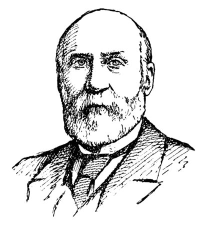 Charles Robinson, 1818-1894, he was the first governor of Kansas, vintage line drawing or engraving illustration Иллюстрация