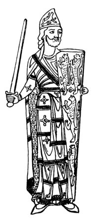 Geofrey Plantagenet, he was the count of Anjou, Touraine, Maine and duke of Normandy, vintage line drawing or engraving illustration Ilustrace