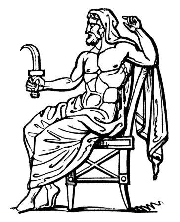 Una imagen antigua de Saturno sentado en una silla y sosteniendo una hoz en su mano derecha. Saturno es un dios romano de la agricultura, línea vintage de dibujo o ilustración de grabado. Ilustración de vector