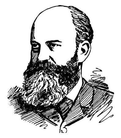 George M. Ebers, 1837-1898, he was German Egyptologist and novelist who discovered the Egyptian medical papyrus, vintage line drawing or engraving illustration