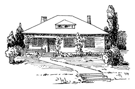 The image shows the design of Morden bungalow. This bungalow has porch with 3 windows on the front wall of the Cottage. It has front yard where many trees are present, vintage line drawing or engravin