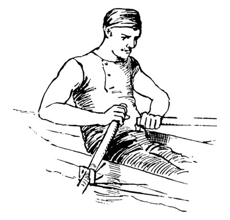 Man trying to recover when rowing, vintage line drawing or engraving illustration. Ilustrace