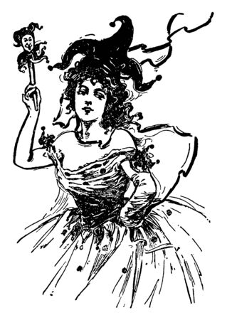 A woman at a Jester costume dance, vintage line drawing or engraving illustration.