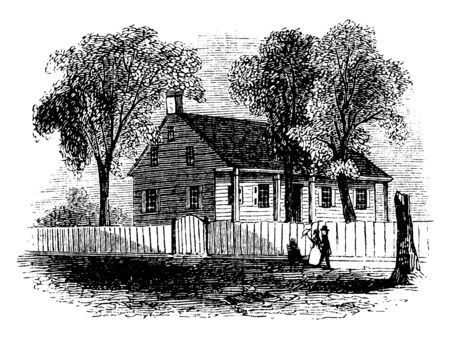 Washingtons head-quarters. House occupied by Washington while the army was at White Plains is yet standing. It is a frame building, on the east side of the road, about two miles above the village, vintage line drawing or engraving illustration. Illusztráció