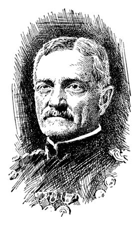 John Joseph Pershing, 1860-1948, he was a senior United States army officer, vintage line drawing or engraving illustration