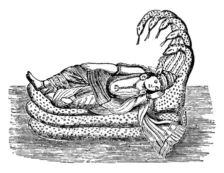 In this image Lord Vishnu is resting on the snake which is 5 heads, vintage line drawing or engraving illustration.