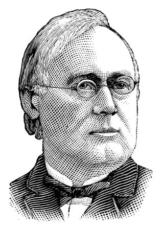 George F. Hoar, 1826-1904, he was a prominent American politician and United States senator from Massachusetts, vintage line drawing or engraving illustration 向量圖像