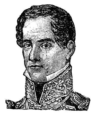 Santa Anna, 1794-1876, he was a Mexican politician, general and president of Mexico, vintage line drawing or engraving illustration