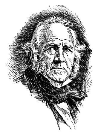 Sam Houston, 1793-1863, he was an American soldier, politician, seventh governor of Texas, first president of Texas, and United States senator from Texas, vintage line drawing or engraving illustration