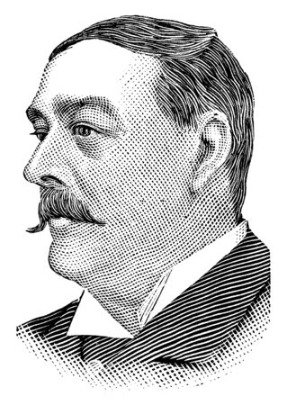 Pierre Lorillard, 1833-1901, he was an American tobacco manufacturer and thoroughbred race horse owner, vintage line drawing or engraving illustration