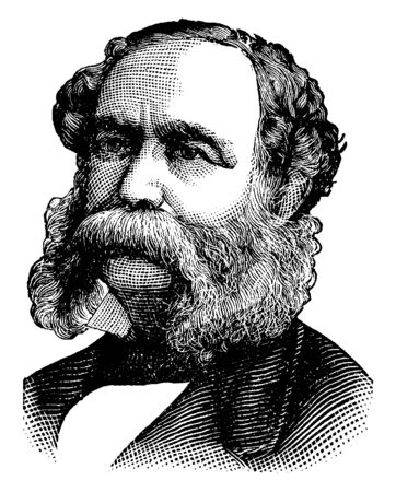 Wade Hampton, 1818-1902, he was United States senator from South Carolina and governor of South Carolina, vintage line drawing or engraving illustration Illustration