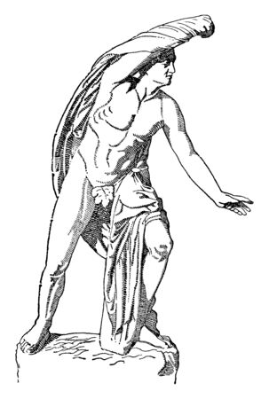 An ancient statue of the eldest son of Niobe, vintage line drawing or engraving illustration.