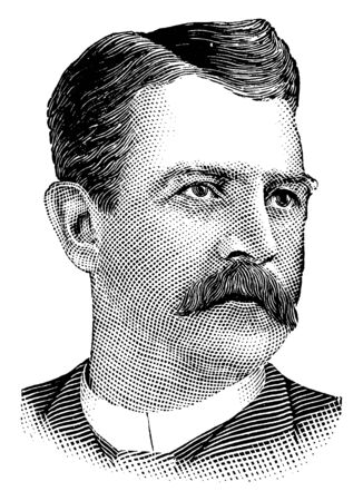 Al Spaulding, he was an American pitcher, manager and executive in the early years of professional baseball, vintage line drawing or engraving illustration 向量圖像