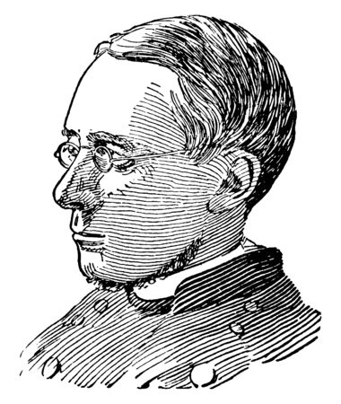 Morgan Dix, 1827-1908, he was an American episcopal church priest, theologian, and religious author, vintage line drawing or engraving illustration 向量圖像