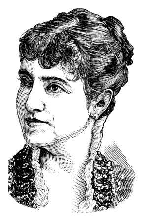 Adelina M. C. Patti, 1843-1919, she was an Italian-French nineteenth century opera singer, vintage line drawing or engraving illustration Illustration