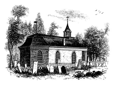St Aldhelm's Chapel is a Norman chapel on St Aldhelm's Head in the parish of Worth Matravers The slab is now  porch of St Nicholas' Church and Bradford on Avon town and civil parish west Wiltshire, vintage line drawing or engraving illustration. Çizim