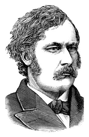 Algernon S. Paddock, 1830-1897, he was an American politician, a republican secretary of Nebraska territory and U.S. senator from Nebraska, vintage line drawing or engraving illustration