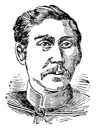 Aritoma Yamagata, 1838-1922, he was a field marshal in the Imperial Japanese army and prime minister of Japan, vintage line drawing or engraving illustration