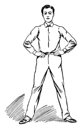 A man keeps his both hand on waist & doing his leg torsion, vintage line drawing or engraving illustration.