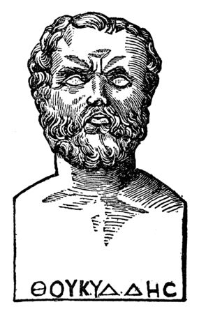 Thucydides, he was an Athenian historian and general, vintage line drawing or engraving illustration