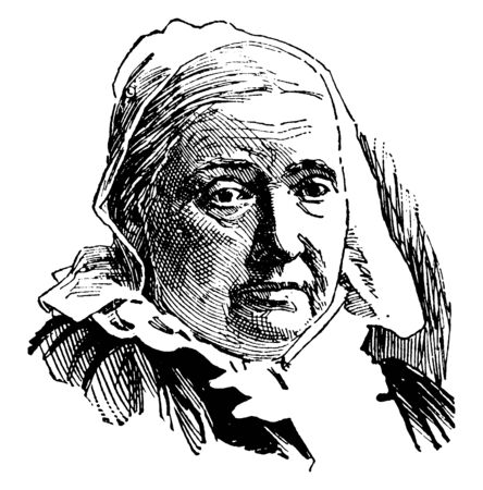 Julia Ward Howe, 1819-1910, she was an American poet, an advocate for abolitionism, social activist, and author, famous for writing The Battle Hymn of the Republic, vintage line drawing or engraving illustration