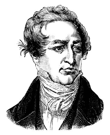 Sir Robert Peel, 1788-1850, he was a British statesman, member of the conservative party, and prime minister of the United Kingdom, vintage line drawing or engraving illustration
