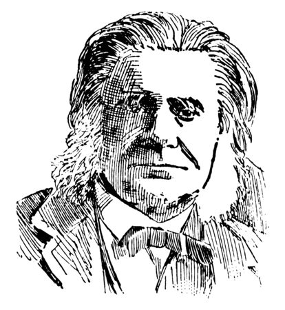Thomas H. Huxley, 1825-1895, he was an English biologist specialising in comparative anatomy, famous for his advocacy of Charles Darwin's theory of evolution, vintage line drawing or engraving illustration Vectores