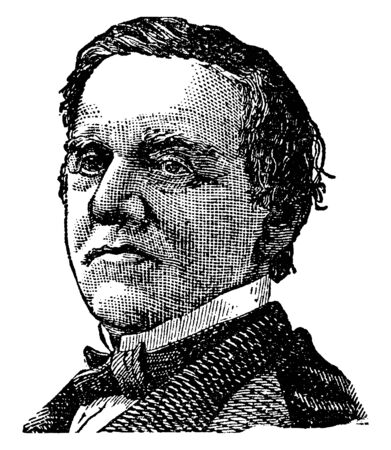 Samuel Tilden, 1814-1886, he was the 25th governor of New York and the democratic candidate for president in the disputed election of 1876, vintage line drawing or engraving illustration