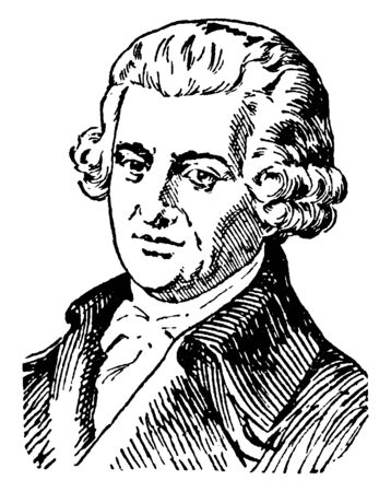 Joseph Haydn, 1732-1809, he was an Austrian composer of the classical period, famous as the father of the symphony and quartet, vintage line drawing or engraving illustration Vetores