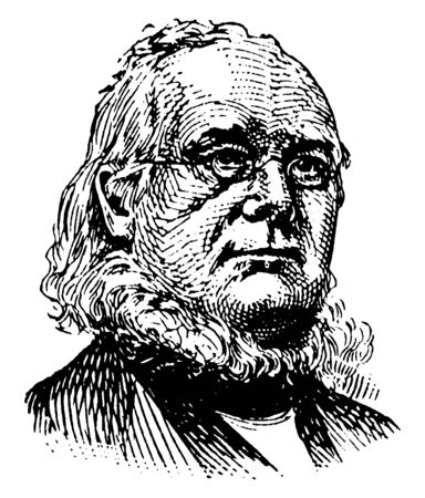Horace Greeley, 1811-1872, he was congressman from New York, founder and editor of the New-York Tribune, and U.S. house representative from New York, vintage line drawing or engraving illustration Illusztráció