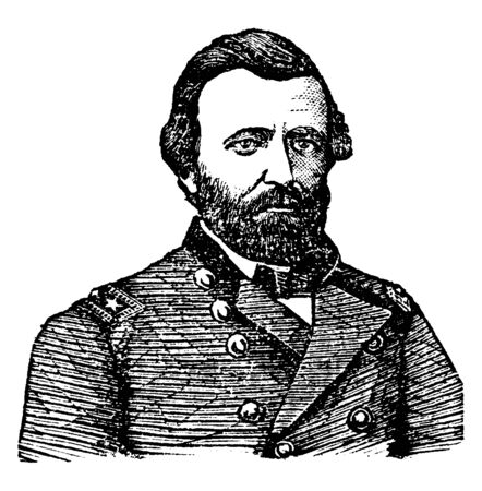 General Ulysses S. Grant, 1822-1885, he was the commanding general of the United States army at the end of the American civil war and the eighteenth president of the United States from 1869 to 1877, vintage line drawing or engraving illustration