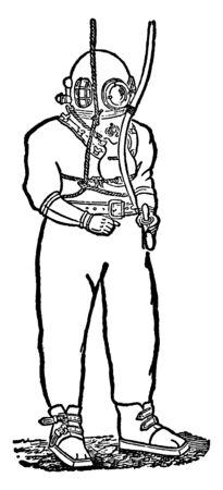 Diving stuff includes a diving dress, hermetically sealed helmets, diving bells, so that divers can stay at depths of water and carry on their work for long hours, vintage line drawing or engraving illustration. Ilustracja