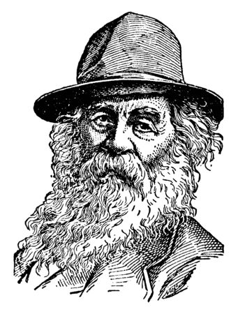 Walt Whitman, 1819-1892, he was an American poet, essayist, and journalist, vintage line drawing or engraving illustration