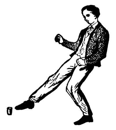 Man kicking a object by his right leg, vintage line drawing or engraving illustration.