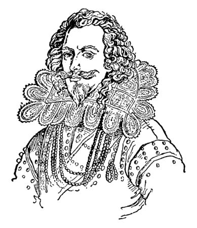 George Villiers, 1592-1628, he was an English courtier, statesman, and patron of the arts, vintage line drawing or engraving illustration