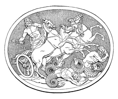 In this frame there are four horses in a chariot with four horses and their war is continuing. In that war a person is dead and one person is saving his life by fighting, vintage line drawing or engraving illustration. 向量圖像