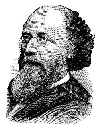 Stephen Johnson Field, 1816-1899, he was an American jurist, an associate Justice of the United States supreme court from 1863 to 1897, and fifth chief Justice of California, vintage line drawing or engraving illustration
