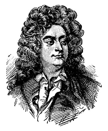 Henry Purcell, 1659-1695, he was an English composer of the middle Baroque period, vintage line drawing or engraving illustration