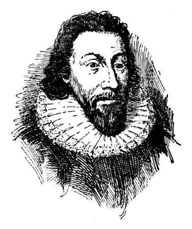 Governor John Winthrop, 1587-1649, he was an English puritan lawyer and third governor of the Massachusetts bay colony, vintage line drawing or engraving illustration Ilustrace
