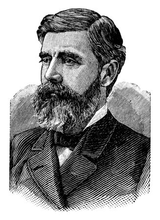 Walter Q. Gresham, 1832-1895, he was an American statesman, jurist, United States postmaster general, federal judge, U.S. senator and U.S. secretary of the Treasury, vintage line drawing or engraving illustration