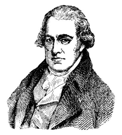 James Watt, 1736-1819, he was a Scottish inventor, mechanical engineer, and chemist, vintage line drawing or engraving illustration Imagens - 133425799