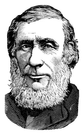 Prof. John Tyndall, 1820-1893, he was a prominent nineteenth-century Irish physicist, famous for the Tyndall effect, vintage line drawing or engraving illustration